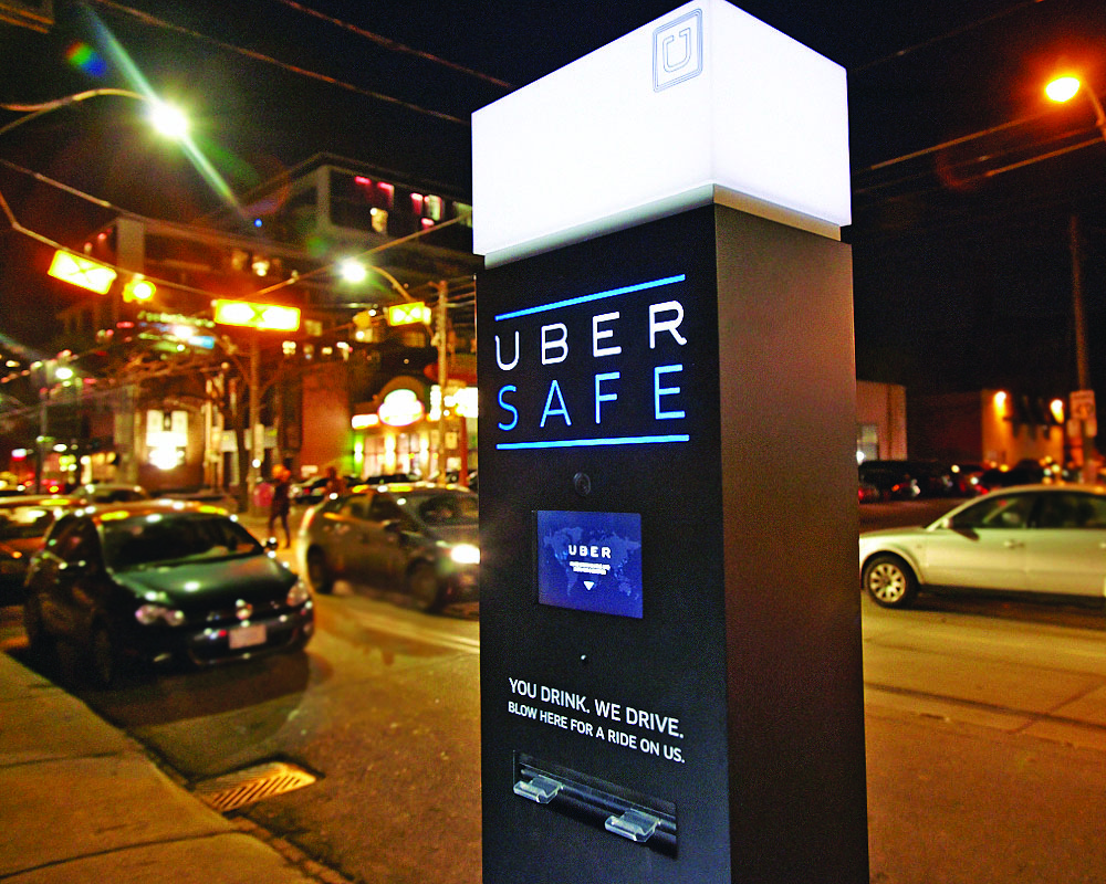 Uber interactive touchscreen advertising kiosk St Patrick's Day campaign.