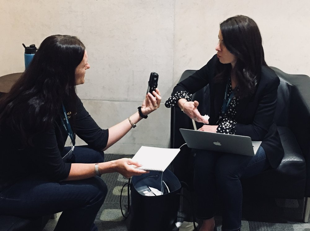 Angie interviewing Erica at the WorkHuman Conference