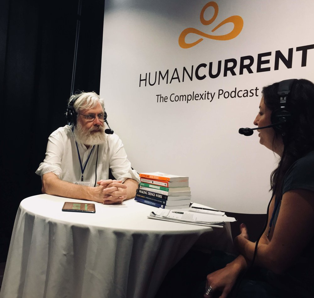 Haley talking with Professor George Church at ICCS 2018