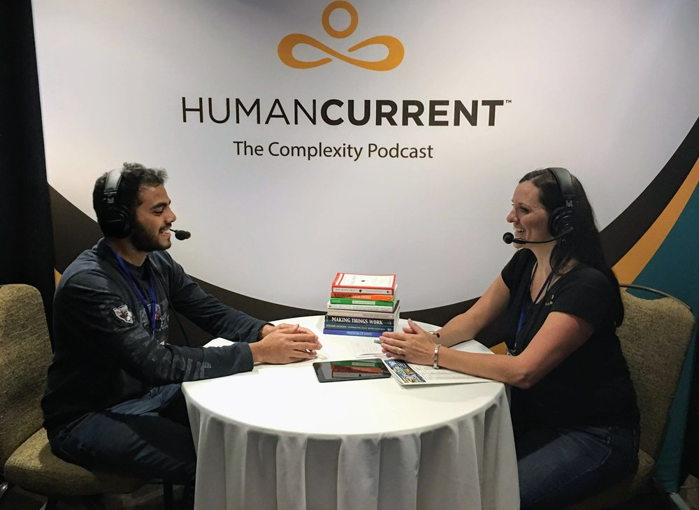 Angie talking with Vinesh Raja at ICCS