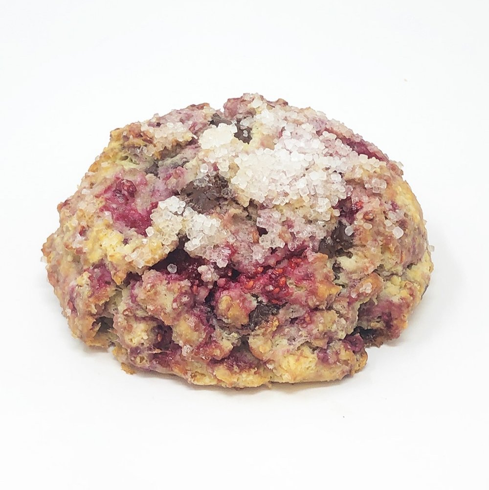 DARK CHOCOLATE RASPBERRY SCONE - $3.25
