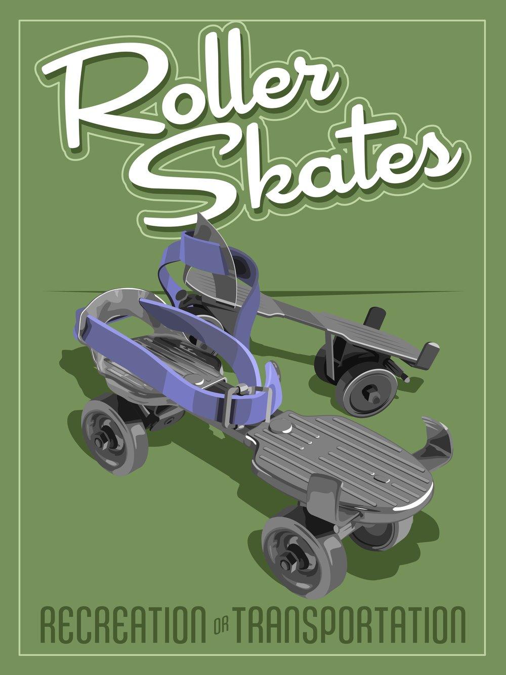 RollerSkatesMidcenturyPoster