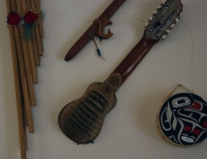 Instruments from around the world adorn the walls of the studio.