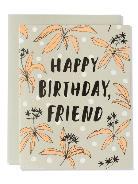 Happy Birthday Friend Modern Floral Card Sunday Bake The Most