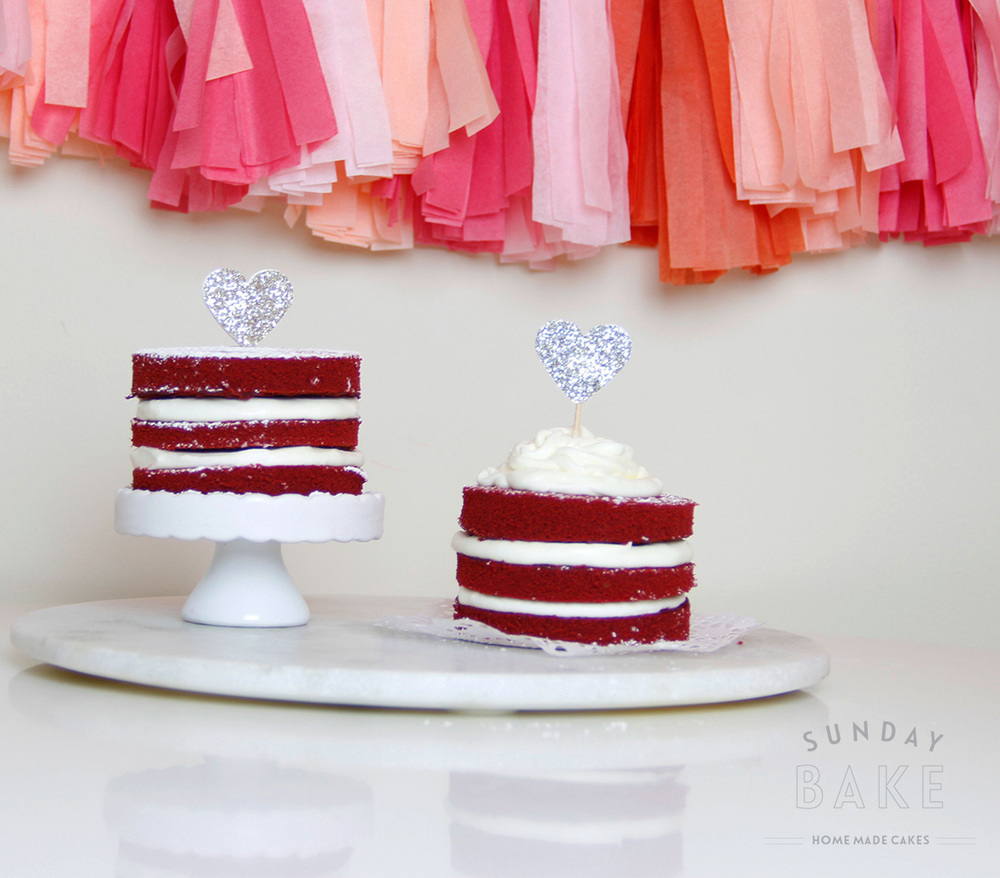 Red velvet cake with chantilly cream filling and topping