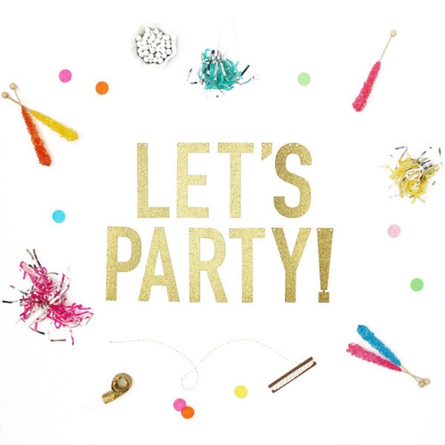 Let's Party Glitter Banner — S...