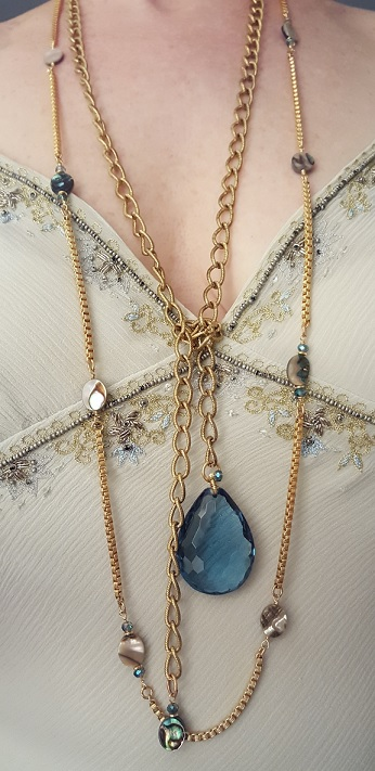 Jules Verne sustainably made long wrap necklace gold abalone and crystal