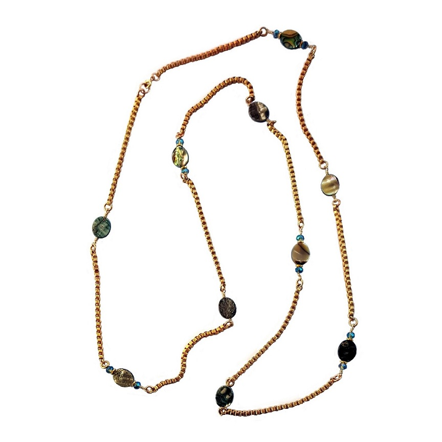 Jules Verne collection sustainably made long wrap necklace gold abalone and crystal