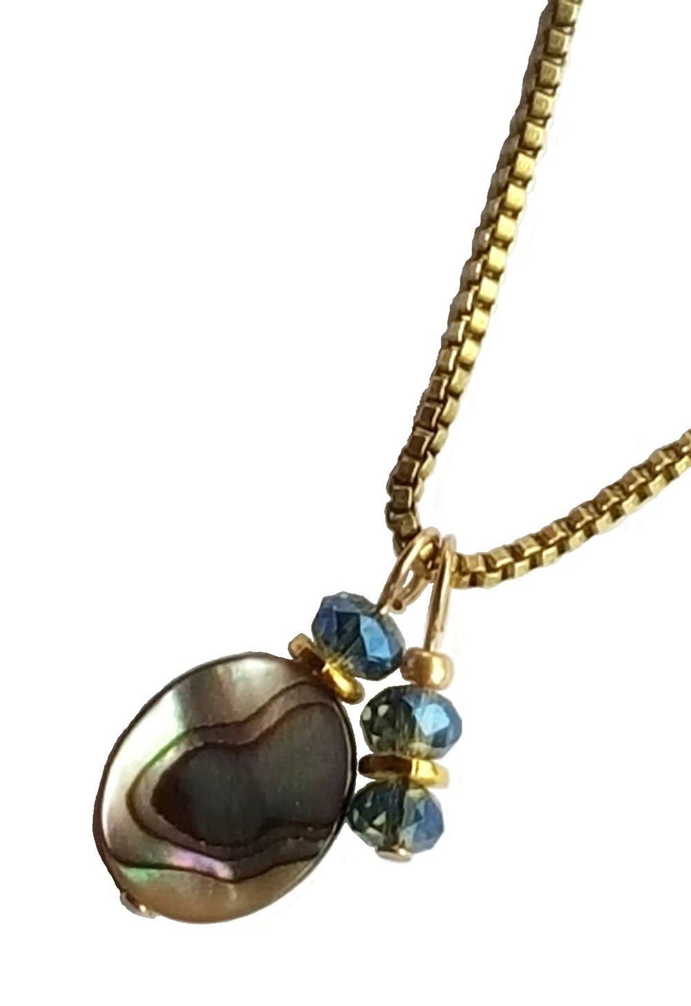 abalone pendant on gold chain close up
