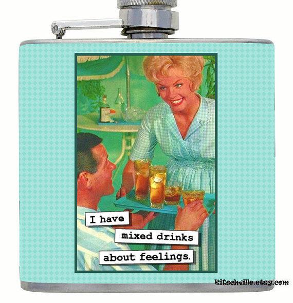 Mixed Drinks Flask $19.99  Kitschville on Etsy