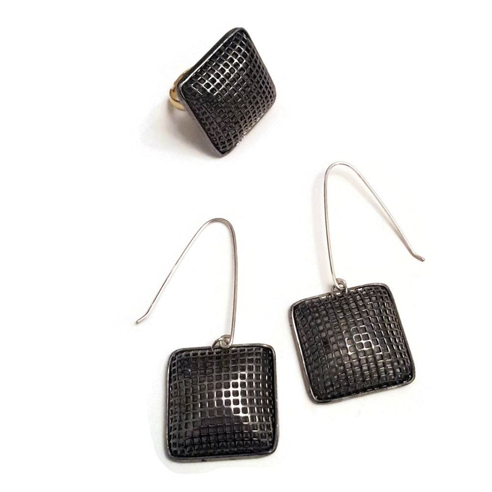 chex silver mesh earrings and ring set
