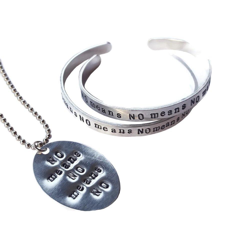 No Means No feminist bracelet and necklace set