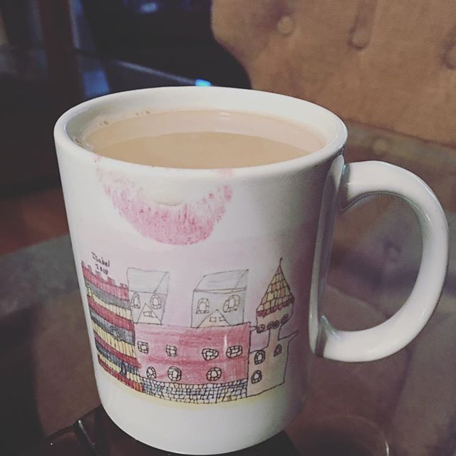 Enjoying my morning #coffee from a mug my youngest created in 2nd grade. She now is starting high school. #coffeetime #coffeelove #daughters #family #timegoesby 💗💗💗💗