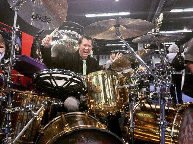 In honor of #NAMM weekend here's another #tbt shot for you going back to 2014. Sitting behind #dannycarey's gorgeous one of a kind metal kit made by @paistecymbals.  Dream come true. I was at the show where they debuted this kit at Red Rocks in 2001!