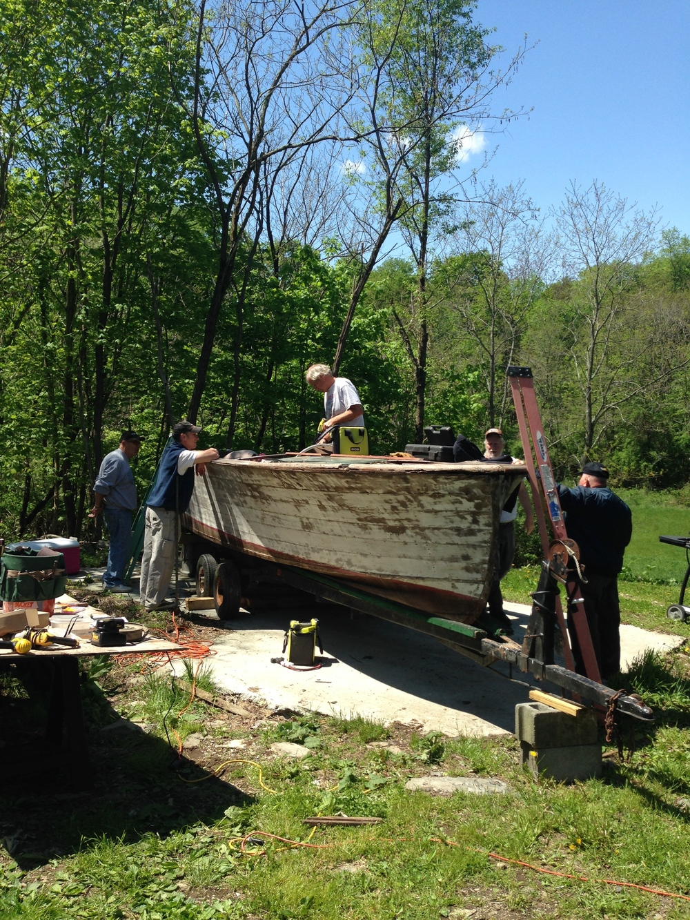 Starting restoration on Dennis and Holly Jenkinson's Christ Craft Sportsman - a long way to go!