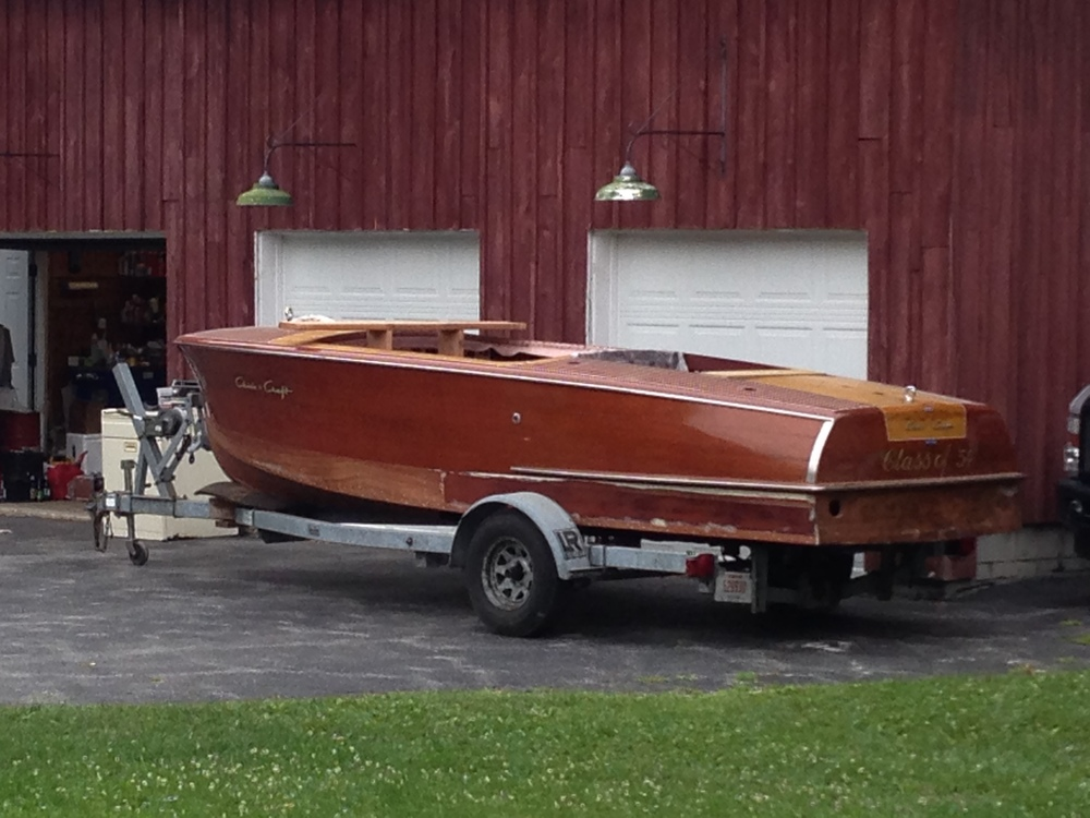 The Fasulo's 1954 Chris Craft Riviera - new bottom installed...paint and varnish to complete.