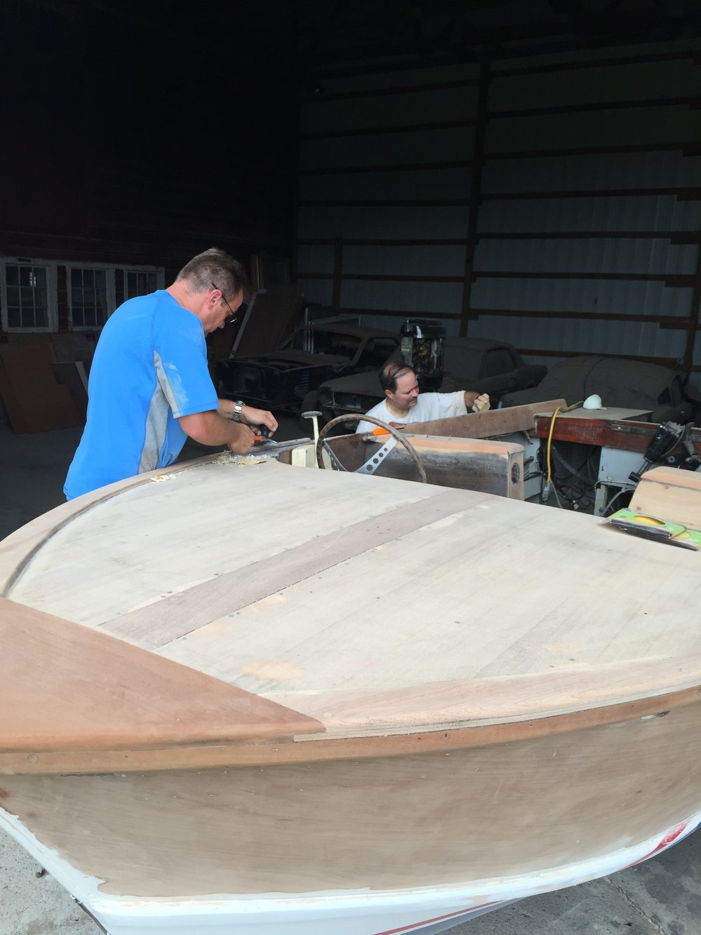 Alec Halstead's 1961 Skee Craft undergoing restoration