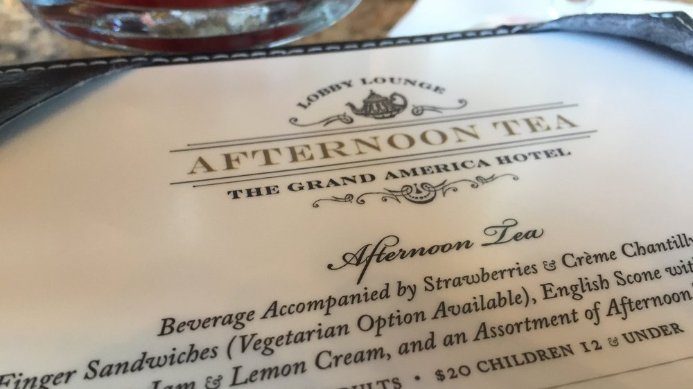The Grand America Afternoon Tea Menu