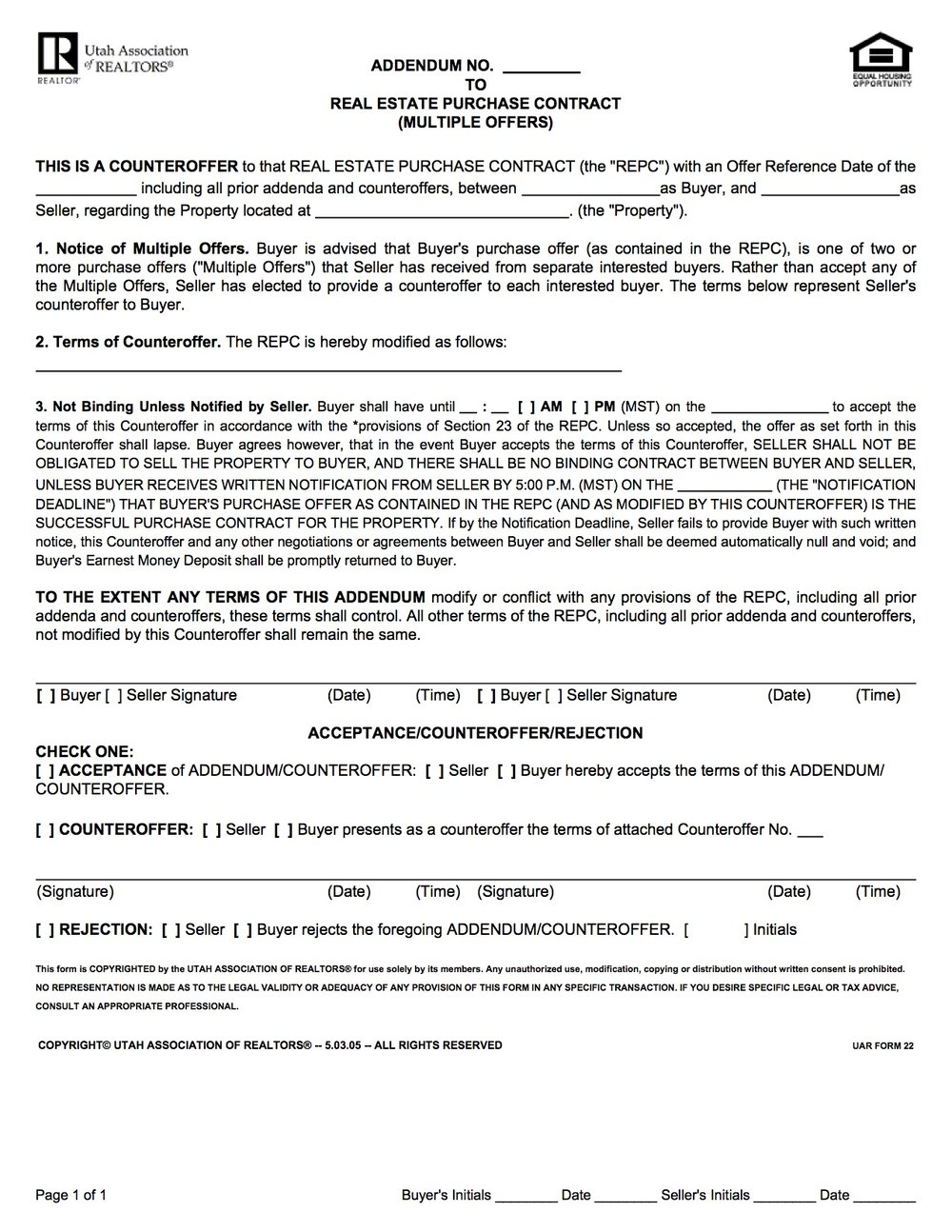 Multiple Offer Addendum - Form provided by the Utah Association of Realtors