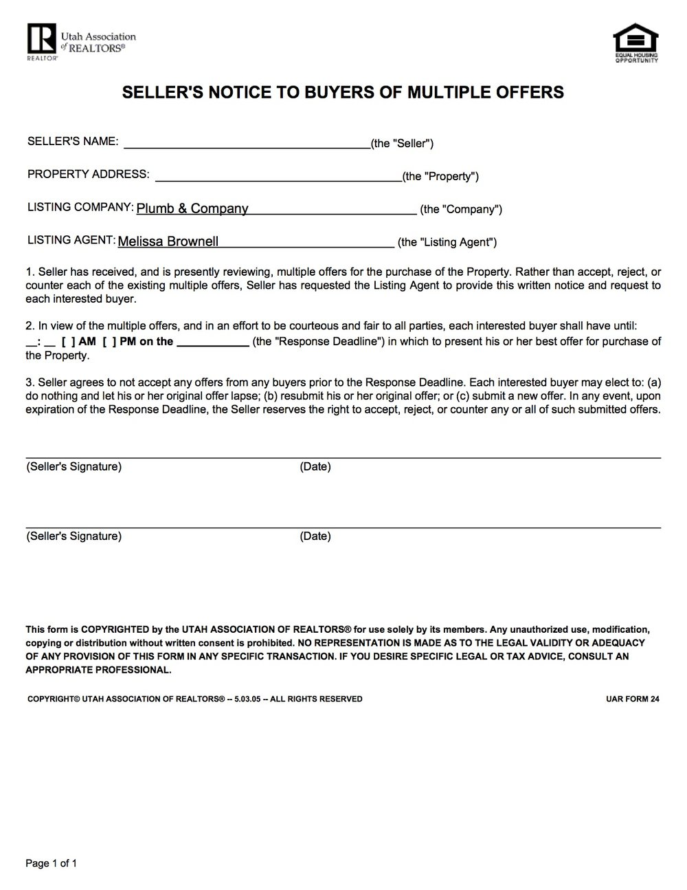 Seller's Notice to Buyers of Multiple Offers - Form provided by the Utah Association of Realtors