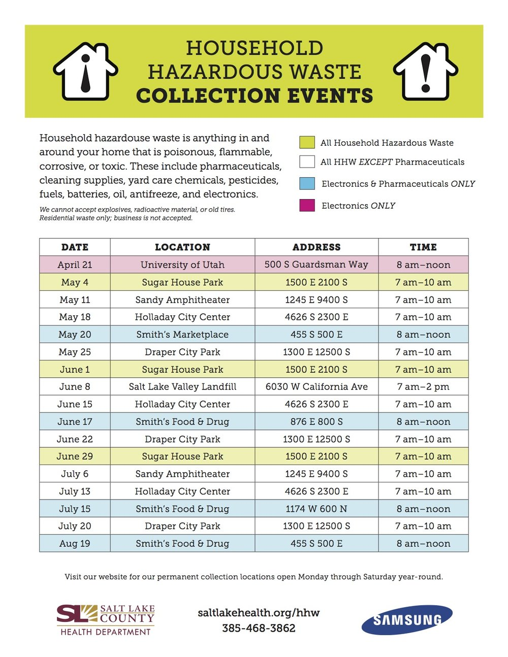 2017 Salt Lake County Hazardous Waste Collection Events