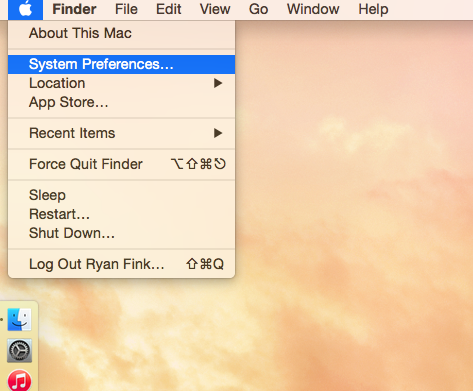 Step 1: Open System Preferences via the Apple icon in the top left corner of your screen