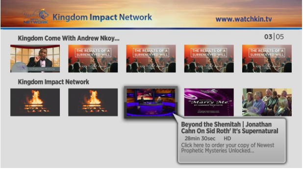 Screenshot of Kingdom Impact Ministry's Roku channels