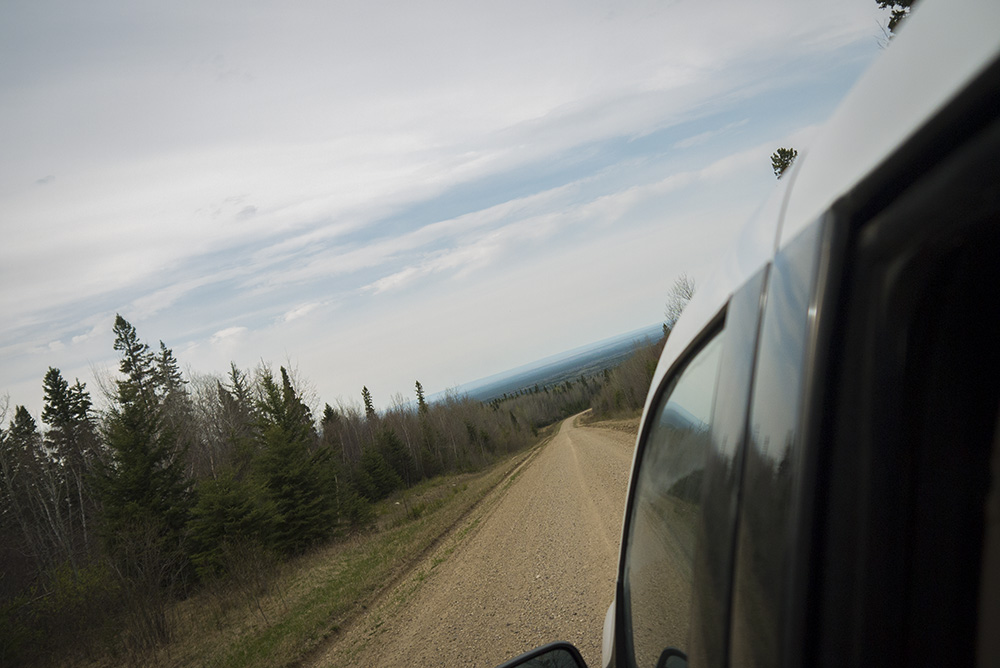 Driving down Brockelbank Hill, a peak in Saskatchewan's Porcupine Provincial Forest.