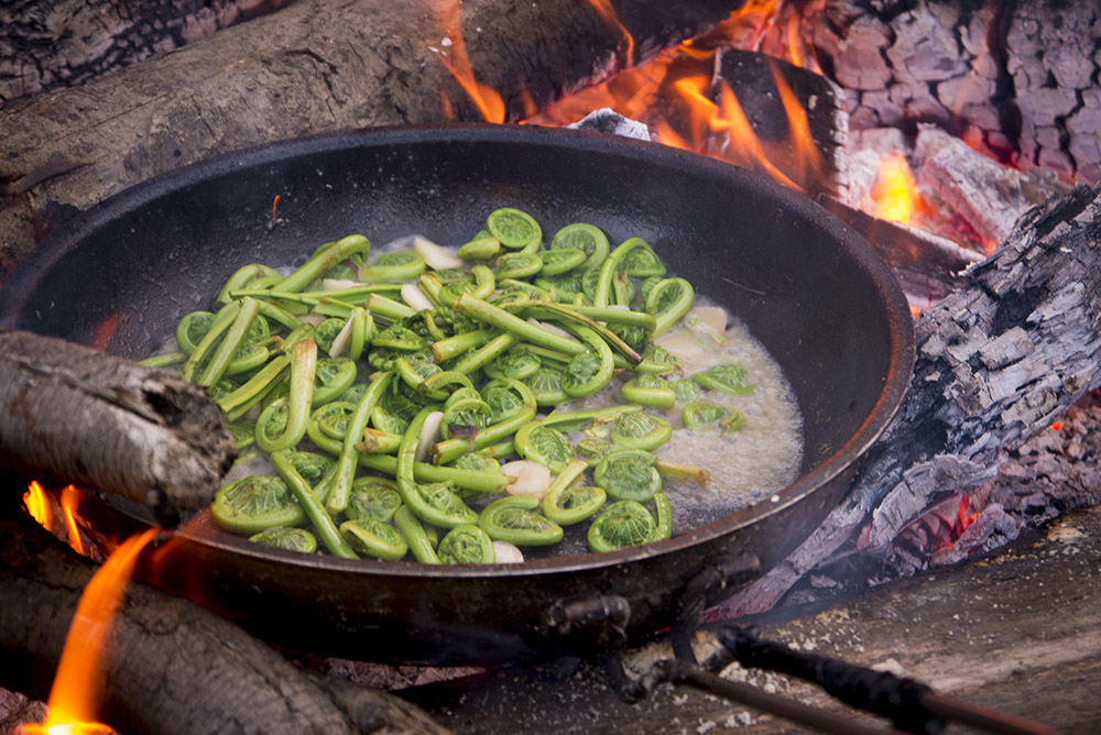 Wild fiddleheads sautéed in butter and garlic