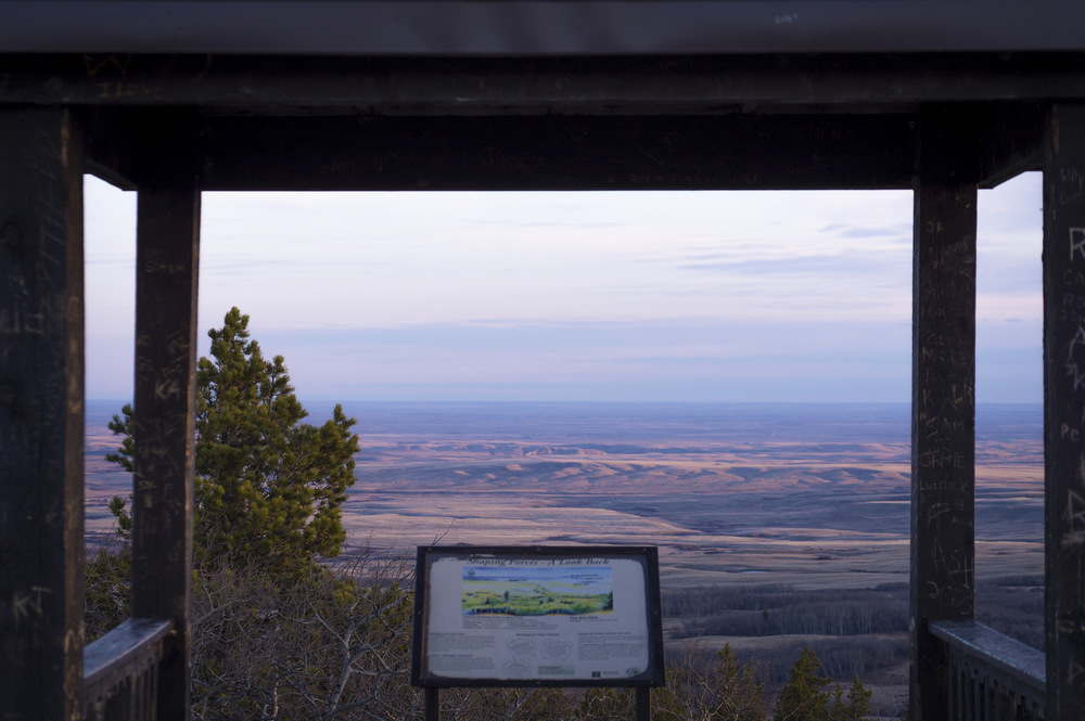 Interpretive sign overlooking the view from Bald Butte.