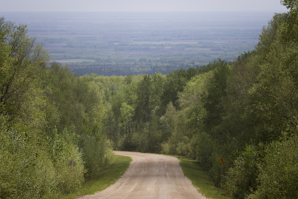 Looking eastward on the slopes of the Manitoba Escarpment. This is the eastern edge of the Porcupine Hills.