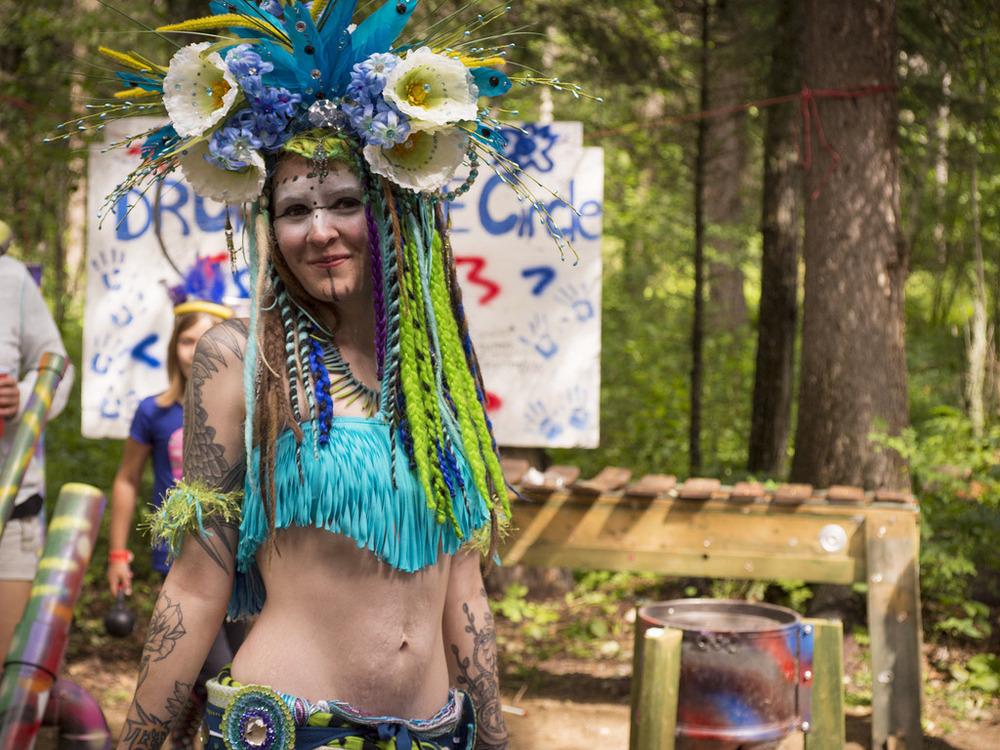 Beautiful costume worn around the drum circle area.