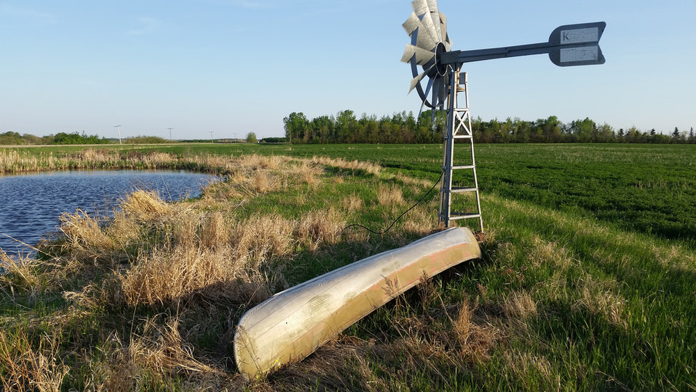One of our lucky vessels on a farm near Kamsack. You're never too far from a friend or relative with a dusty old canoe.