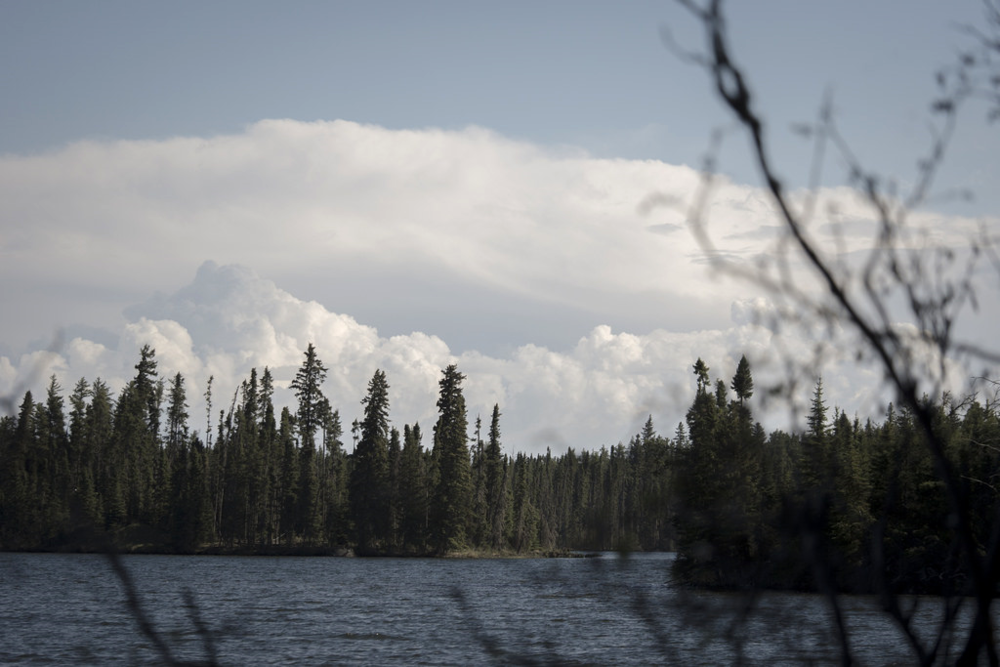 Storm clouds on the horizon of South Steeprock Lake on the morning of our departure.
