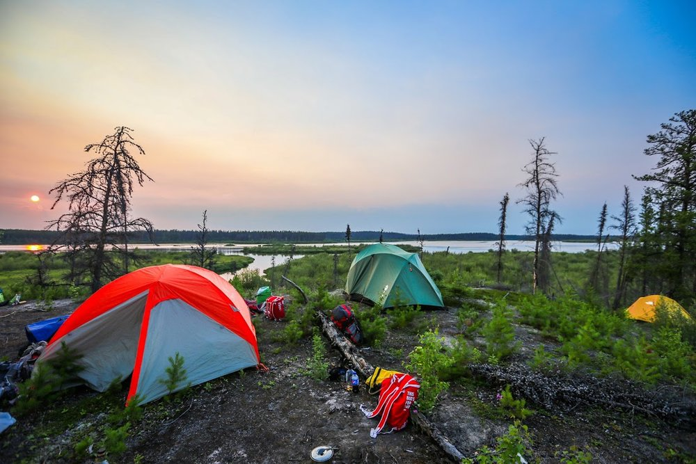 Camping on an island within the Cree River