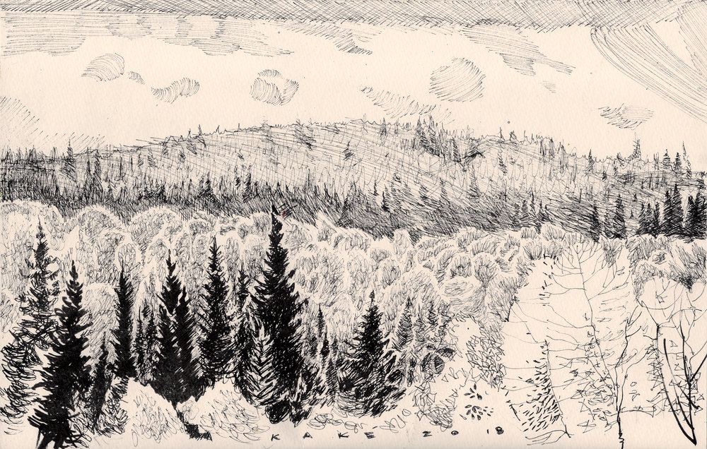 Sketch of Steeprock River Valley by Bhupinder Singh