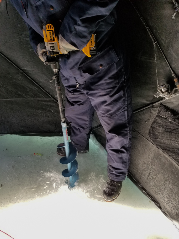 David's power-drill-powered ice auger: surprisingly effective (Goodson)