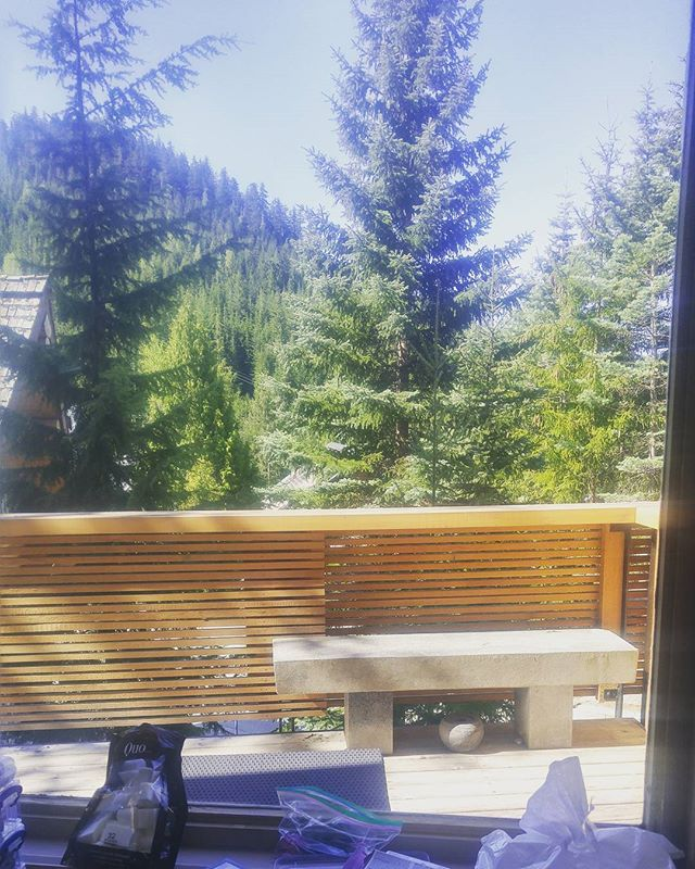 My office this morning 👍👍👍👍🌲🌞🔥 #yvrmakeupartist #whistlerwedding #workingamongstthetrees