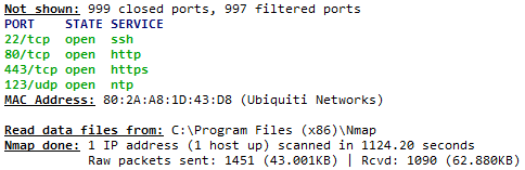 Ubiquiti Nmap Port Scan