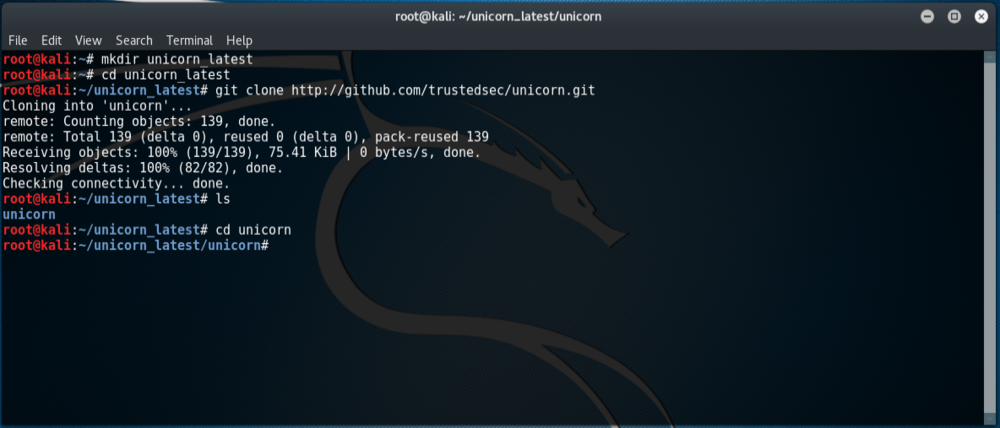 Cloning TrustedSec's Unicorn repositoryc
