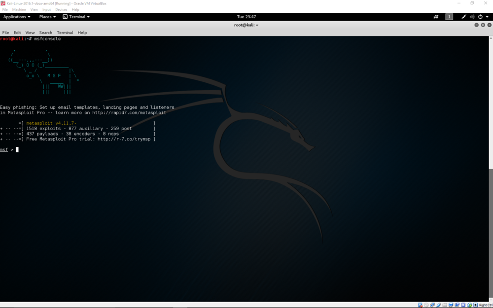 Kali linux vm in oracle virtualbox manito networks for Oracle cc b architecture