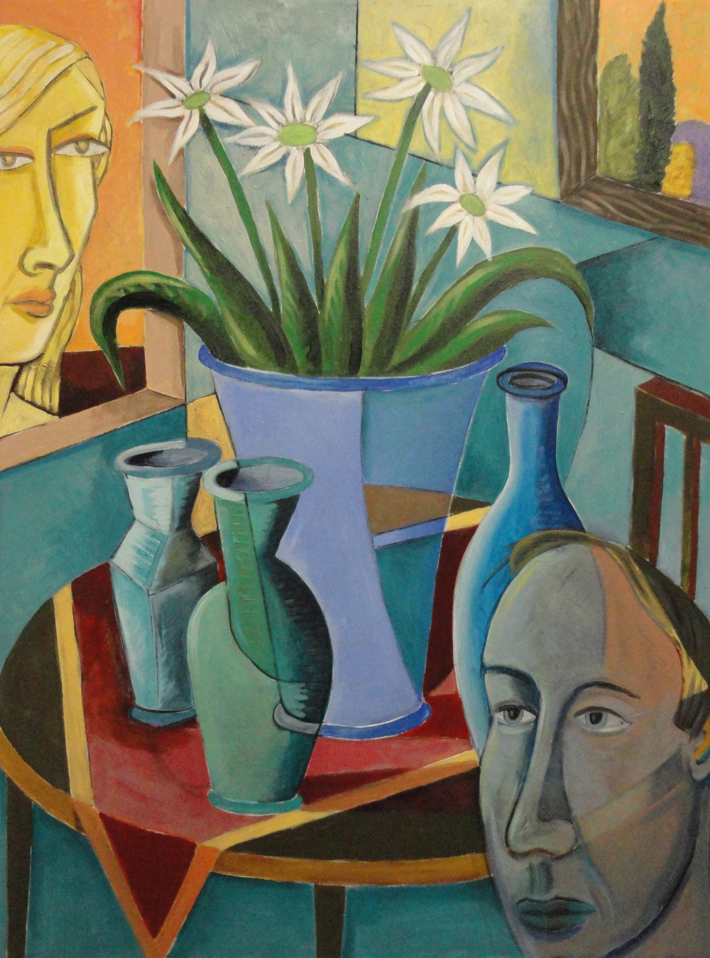 Interior with Blue Bottles 40x30 a/c 2014