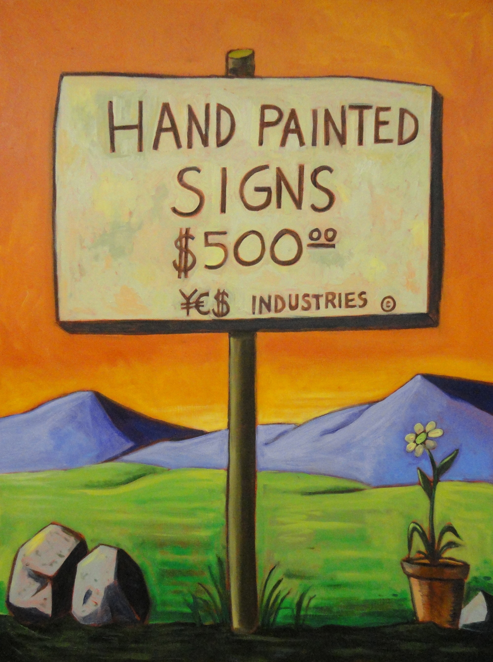 Hand Painted Signs 40x30 acrylic on canvas 2011