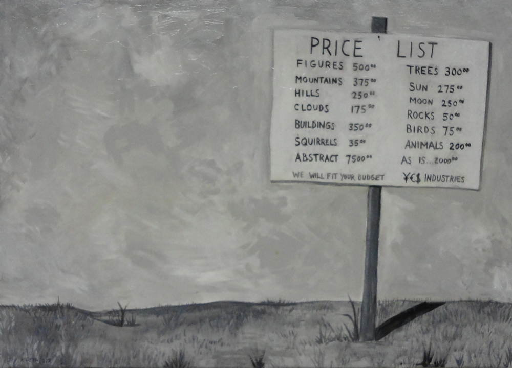 Price List 34x42 acrylic on wood 2012