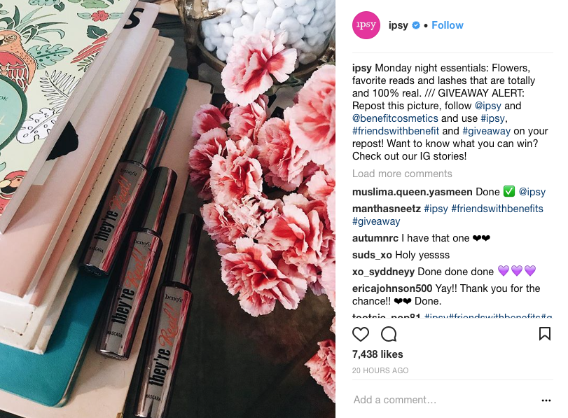 Ipsy hosting a photo challenge contest.