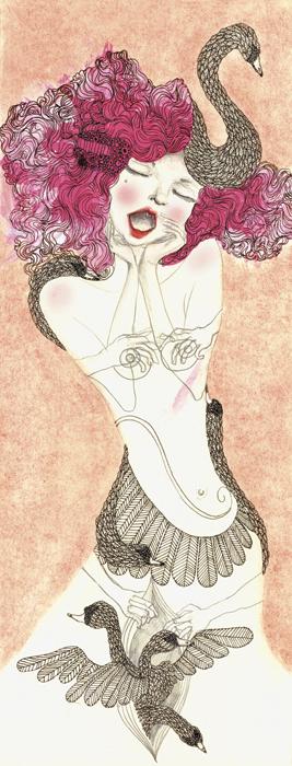 Swan Girl In Ecstasy  ; Nailpolish, graphite and mixed media 2012  SOLD