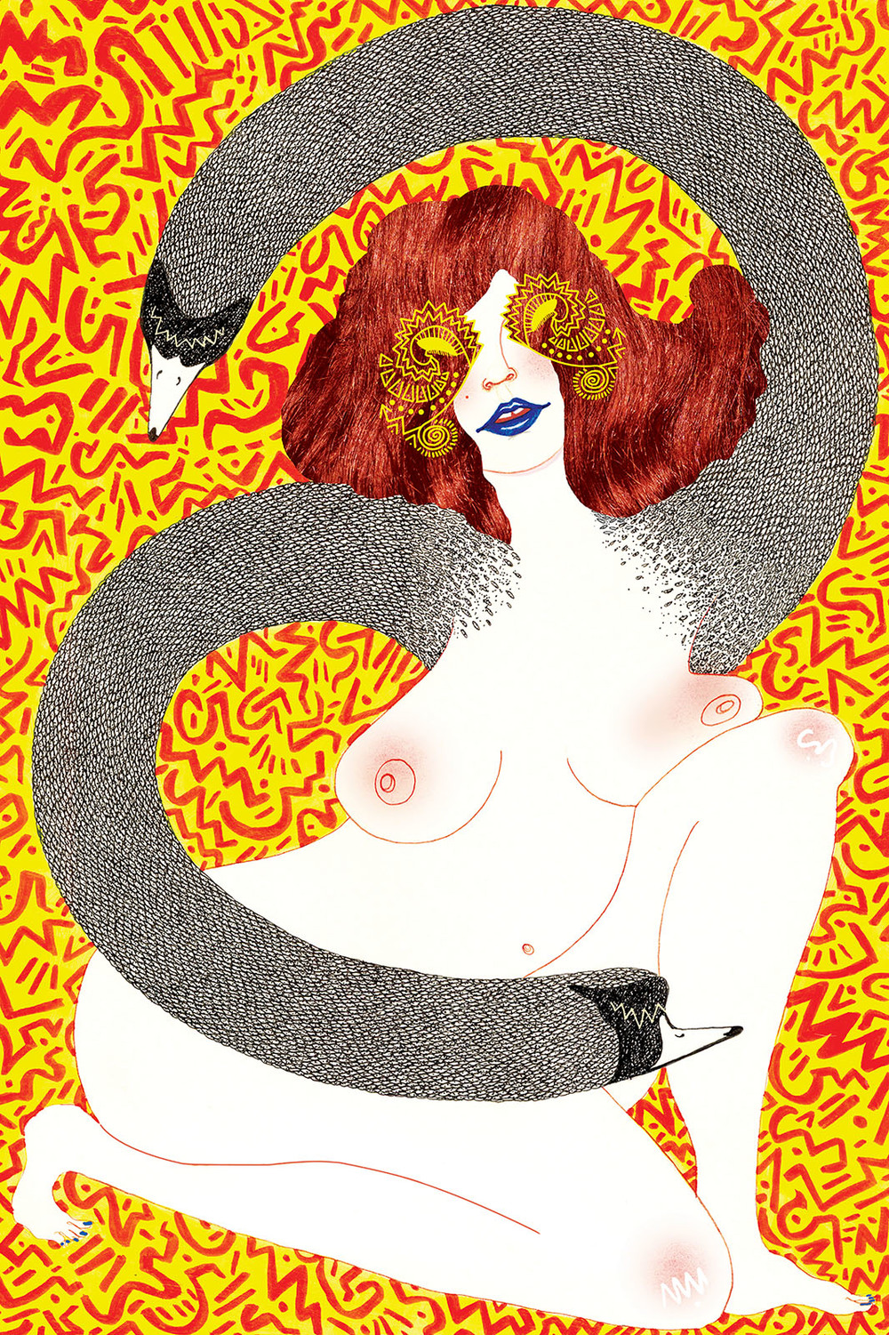 Tantalizing Temptation  ; Graphite, blush, ink, acrylic and digital 2013  SOLD