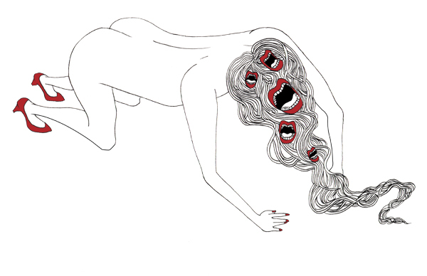 Chaetophobia (Fear of Hair)  ; Ink and digital 2012