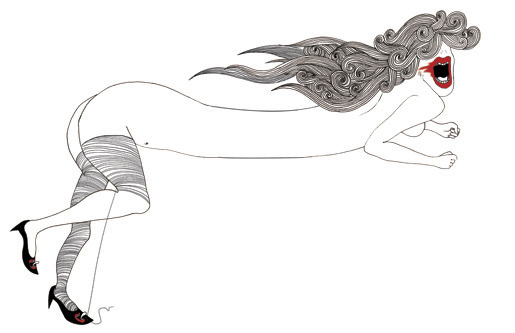 Caligynephobia (Fear of Beautiful Women)  ; Ink and digital 2012