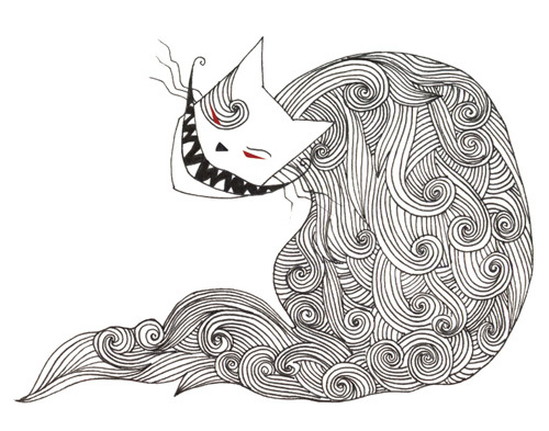 Catophobia (Fear of Cats)  ; Ink and digital 2012